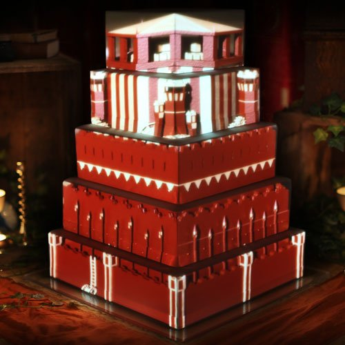 Game of Thrones clockwork castle projection mapped on a large five-tiered cake