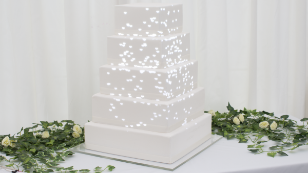 Product ID 555: White Hearts Rising projection cake mapping video content preview