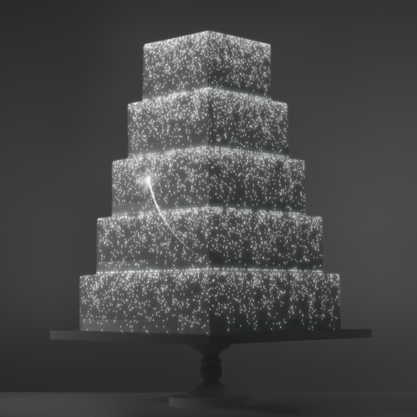 Fairy Cascade video template projection mapped on a cake