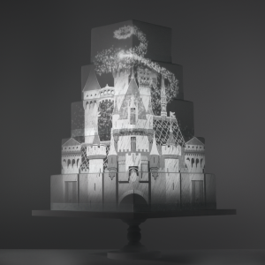 Fairytale Journey video template projection mapped on a cake