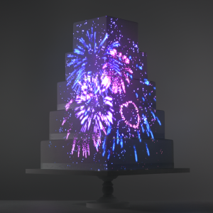 Fireworks video template projection mapped on a cake