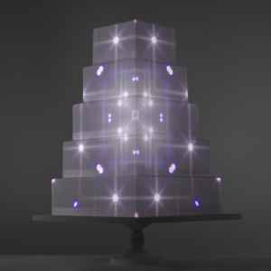 Kaleidoscope video template projection mapped on a cake