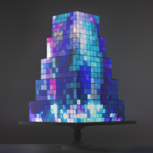 Mirrorball Mosaic video template projection mapped on a cake
