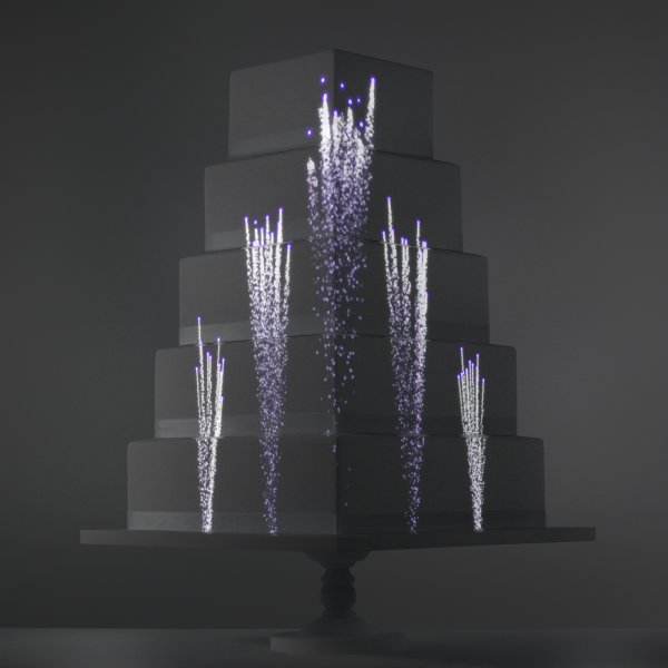 Purple Fountain video template projection mapped on a cake
