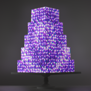 Purple Sequins video template projection mapped on a cake