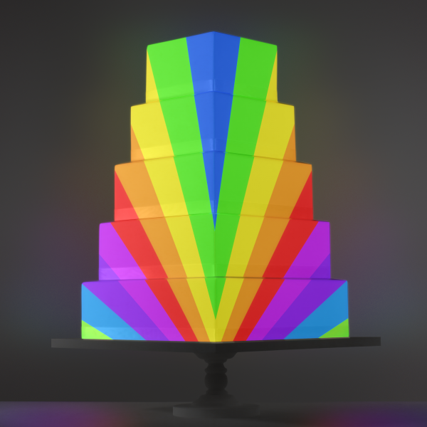 Rainbow video template projection mapped on a cake