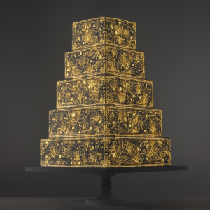 Art Deco Ornaments video template projection mapped on a cake