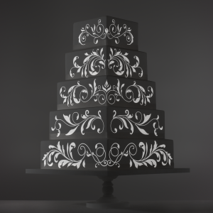 Foliage Ornaments video template projection mapped on a cake