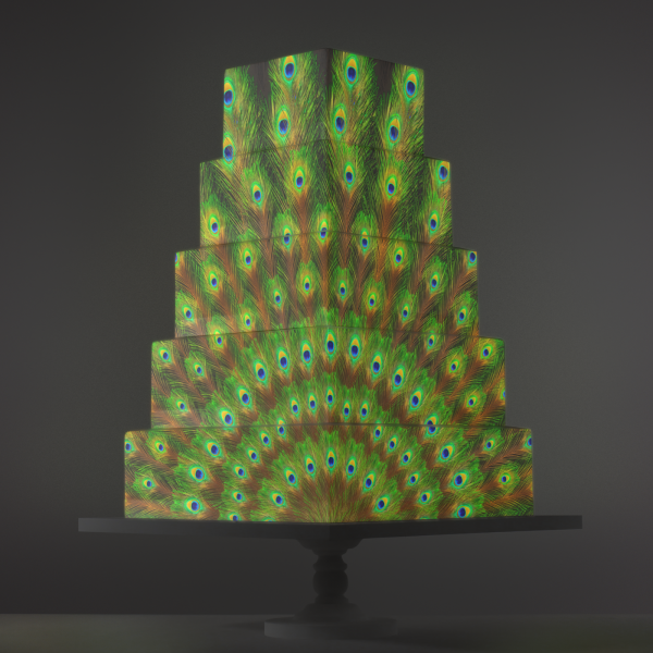 Peacock Feathers video template projection mapped on a cake
